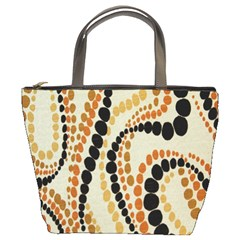 Polka Dot Texture Fabric 70s Orange Swirl Cloth Pattern Bucket Bags