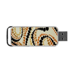 Polka Dot Texture Fabric 70s Orange Swirl Cloth Pattern Portable USB Flash (One Side)