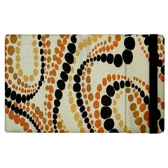 Polka Dot Texture Fabric 70s Orange Swirl Cloth Pattern Apple iPad 3/4 Flip Case