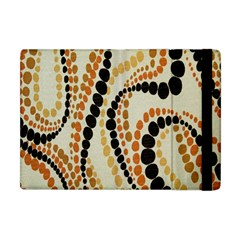 Polka Dot Texture Fabric 70s Orange Swirl Cloth Pattern Apple iPad Mini Flip Case