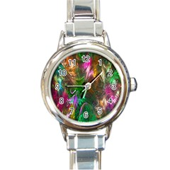Fractal Texture Abstract Messy Light Color Swirl Bright Round Italian Charm Watch