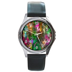 Fractal Texture Abstract Messy Light Color Swirl Bright Round Metal Watch