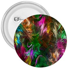 Fractal Texture Abstract Messy Light Color Swirl Bright 3  Buttons