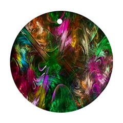 Fractal Texture Abstract Messy Light Color Swirl Bright Ornament (Round)