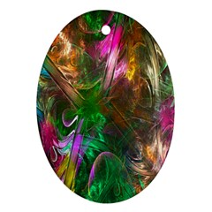 Fractal Texture Abstract Messy Light Color Swirl Bright Ornament (oval)