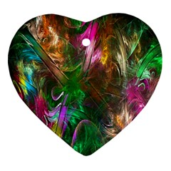 Fractal Texture Abstract Messy Light Color Swirl Bright Ornament (heart)