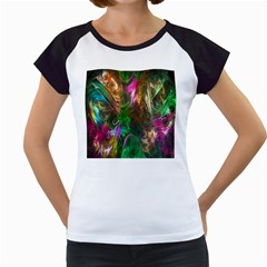 Fractal Texture Abstract Messy Light Color Swirl Bright Women s Cap Sleeve T