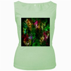 Fractal Texture Abstract Messy Light Color Swirl Bright Women s Green Tank Top
