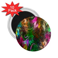 Fractal Texture Abstract Messy Light Color Swirl Bright 2 25  Magnets (10 Pack)