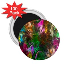 Fractal Texture Abstract Messy Light Color Swirl Bright 2.25  Magnets (100 pack)