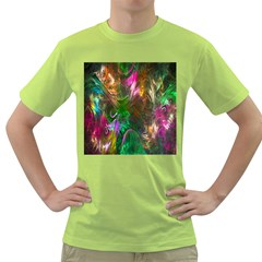 Fractal Texture Abstract Messy Light Color Swirl Bright Green T-Shirt