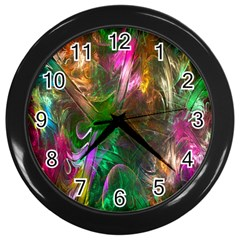 Fractal Texture Abstract Messy Light Color Swirl Bright Wall Clocks (Black)
