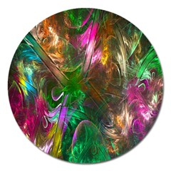Fractal Texture Abstract Messy Light Color Swirl Bright Magnet 5  (round)