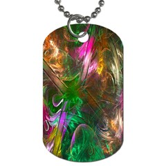 Fractal Texture Abstract Messy Light Color Swirl Bright Dog Tag (Two Sides)
