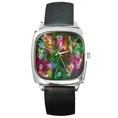 Fractal Texture Abstract Messy Light Color Swirl Bright Square Metal Watch