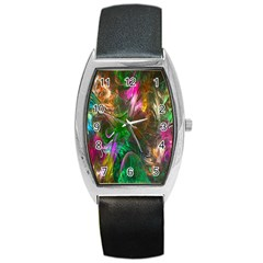 Fractal Texture Abstract Messy Light Color Swirl Bright Barrel Style Metal Watch