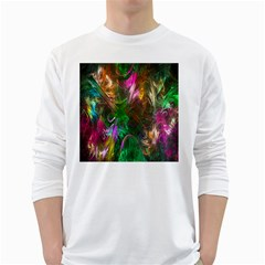 Fractal Texture Abstract Messy Light Color Swirl Bright White Long Sleeve T Shirts