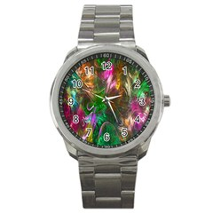 Fractal Texture Abstract Messy Light Color Swirl Bright Sport Metal Watch