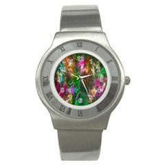 Fractal Texture Abstract Messy Light Color Swirl Bright Stainless Steel Watch