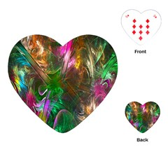 Fractal Texture Abstract Messy Light Color Swirl Bright Playing Cards (Heart)