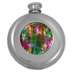 Fractal Texture Abstract Messy Light Color Swirl Bright Round Hip Flask (5 oz)