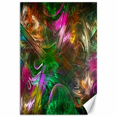 Fractal Texture Abstract Messy Light Color Swirl Bright Canvas 12  X 18