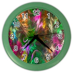 Fractal Texture Abstract Messy Light Color Swirl Bright Color Wall Clocks