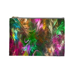 Fractal Texture Abstract Messy Light Color Swirl Bright Cosmetic Bag (Large)