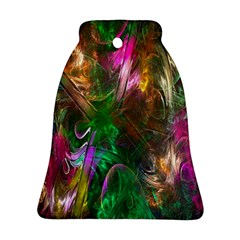 Fractal Texture Abstract Messy Light Color Swirl Bright Ornament (bell)