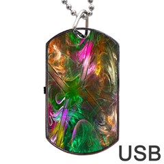 Fractal Texture Abstract Messy Light Color Swirl Bright Dog Tag USB Flash (One Side)