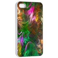 Fractal Texture Abstract Messy Light Color Swirl Bright Apple iPhone 4/4s Seamless Case (White)