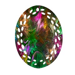 Fractal Texture Abstract Messy Light Color Swirl Bright Oval Filigree Ornament (Two Sides)