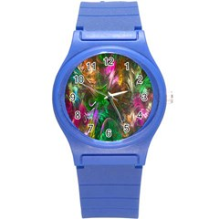 Fractal Texture Abstract Messy Light Color Swirl Bright Round Plastic Sport Watch (S)