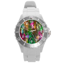 Fractal Texture Abstract Messy Light Color Swirl Bright Round Plastic Sport Watch (L)