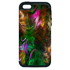 Fractal Texture Abstract Messy Light Color Swirl Bright Apple iPhone 5 Hardshell Case (PC+Silicone)
