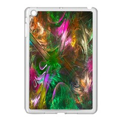 Fractal Texture Abstract Messy Light Color Swirl Bright Apple iPad Mini Case (White)