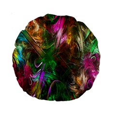 Fractal Texture Abstract Messy Light Color Swirl Bright Standard 15  Premium Round Cushions