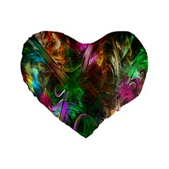 Fractal Texture Abstract Messy Light Color Swirl Bright Standard 16  Premium Heart Shape Cushions