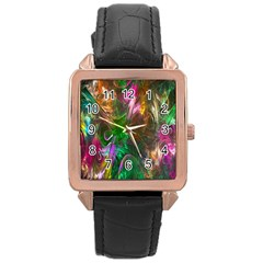 Fractal Texture Abstract Messy Light Color Swirl Bright Rose Gold Leather Watch
