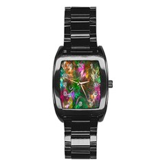 Fractal Texture Abstract Messy Light Color Swirl Bright Stainless Steel Barrel Watch