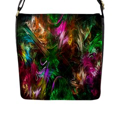 Fractal Texture Abstract Messy Light Color Swirl Bright Flap Messenger Bag (L)