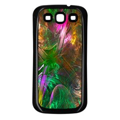 Fractal Texture Abstract Messy Light Color Swirl Bright Samsung Galaxy S3 Back Case (Black)