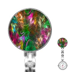 Fractal Texture Abstract Messy Light Color Swirl Bright Stainless Steel Nurses Watch