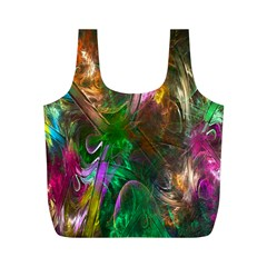 Fractal Texture Abstract Messy Light Color Swirl Bright Full Print Recycle Bags (M)