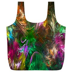 Fractal Texture Abstract Messy Light Color Swirl Bright Full Print Recycle Bags (L)