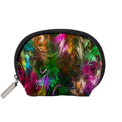 Fractal Texture Abstract Messy Light Color Swirl Bright Accessory Pouches (small)