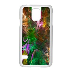 Fractal Texture Abstract Messy Light Color Swirl Bright Samsung Galaxy S5 Case (White)