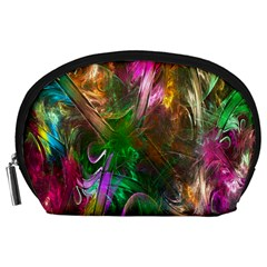 Fractal Texture Abstract Messy Light Color Swirl Bright Accessory Pouches (Large)