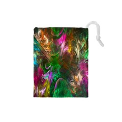 Fractal Texture Abstract Messy Light Color Swirl Bright Drawstring Pouches (Small)