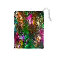 Fractal Texture Abstract Messy Light Color Swirl Bright Drawstring Pouches (Medium)